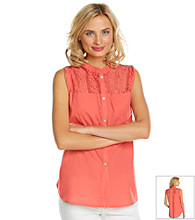 Democracy Sleeveless Crewneck Lace Tie Front Top