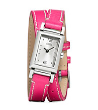 COACH PINK MADISON DOUBLE WRAP WATCH
