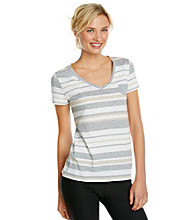 Calvin Klein Performance Short Sleeve V-Neck Striped Tee
