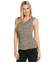 Cable & Gauge® Sleeveless Drapeneck Cheetah Print Tank