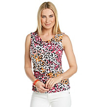 Cable & Gauge® Sleeveless Drapeneck Geometric Print Tank