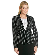Rafaella® Long Sleeve Notch Collar Black And White Polka Dot Jacket