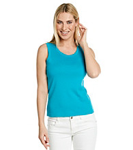 Rafaella® Sleeveless Scoopneck Solid Shell