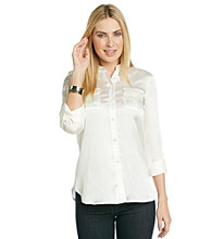 Jones New York Signature® Roll Sleeve Buttonfront Solid Safari Style Shirt