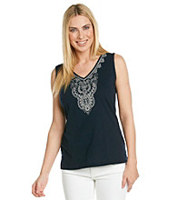 Jones New York Sport® Navy Embroidered Tunic