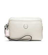 COACH POPPY LEATHER DOUBLE ZIP WRISTLET