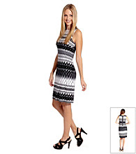 Karen Kane® Sleeveless Zig-Zag Exposed Zipper Dress