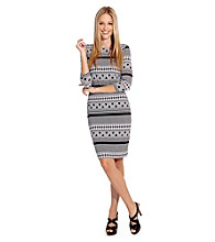 Karen Kane® Crewneck Geometric Stripe Dress