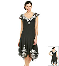 J Kara® Short Sleeve V-Neck Beaded Hanky Hem Dress