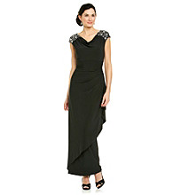 Alex Evenings® Cap Sleeve Drapeneck Beaded Shoulder Dress
