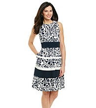 Anne Klein® Sleeveless Crewneck Floral Stripe Dress