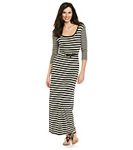 Calvin Klein Elbow Sleeve Scoopneck Striped Maxi With Belt