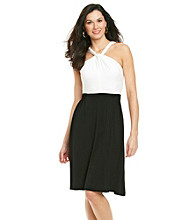 Calvin Klein Sleeveless Knot Front Halter Dress