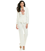 Le Suit® Plus Size Peak Collar Herringbone Jacket With Pants And Scarf