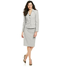 Le Suit® Plus Size Notch Collar Jacket With Skirt