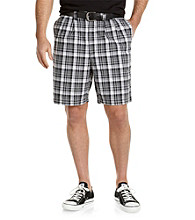 Harbor Bay® Men's Big & Tall Black/White Plaid Pleated Short