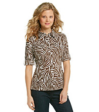 Jones New York Sport® Petites' Animal Print Roll Sleeve Shirt