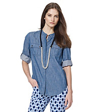 Jones New York Sport® Petites' Banded Collar Chambray Shirt