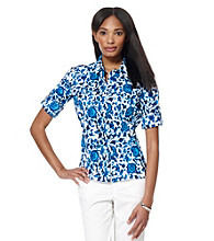 Jones New York Sport® Petites' Roll Sleeve Floral Multi Shirt
