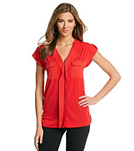 Jones New York Signature® Petites' Coral Shoulder Tab Woven Top