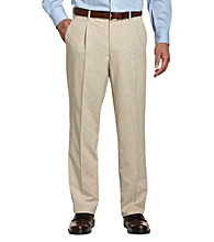 Traveler Technology™ Men's Big & Tall Tan Waist-Relaxer Linen Pleated Pant