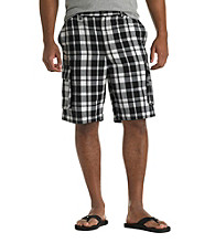 555 Turnpike™ Men's Big & Tall Black/White Plaid Cargo Short
