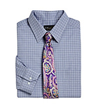 Gold Series™ Men's Big & Tall Blue Wrinkle-Free Grid Dress Shirt