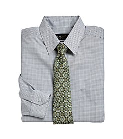 Gold Series™ Men's Big & Tall Black Wrinkle-Free Mini Check Dress Shirt