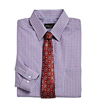 Gold Series™ Men's Big & Tall Blue Wrinkle-Free Small Check Dress Shirt