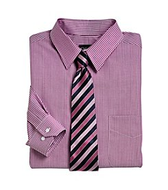 Gold Series™ Men's Big & Tall Wrinkle-Free Bengal Stripe Dress Shirt