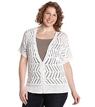 Jones New York Sport® Plus Size Buttonfront Crochet Cardigan