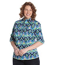Jones New York Sport® Plus Size Roll-Sleeve Crewneck Printed Shirt
