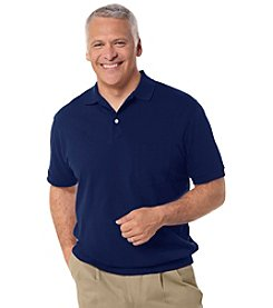 Harbor Bay® Men's Big & Tall Short Sleeve Banded-Bottom Pique Polo