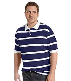 Harbor Bay® Men's Big & Tall Mazarine White Rugby Stripe Pique Polo