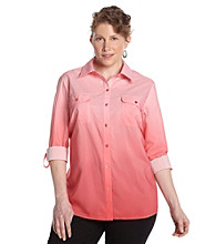 Notations® Plus Size Ombre Buttonfront Shirt