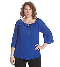 AGB® Plus Size Gauze Peasant Top