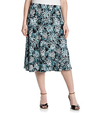Notations® Plus Size Diagonal Seam Skirt