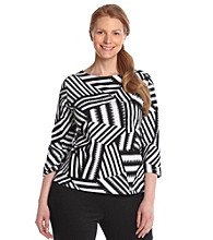 Ruby Rd.® Plus Size Patchwork Print Top
