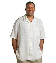 Island Outfitters® Men's Big & Tall Antique White Short Sleeve Jacquard Palm Print Woven