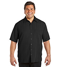 Island Passport® Men's Big & Tall Short Sleeve Jacquard Stripe Shirt