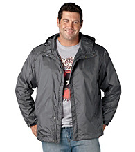 Synrgy Men's Big & Tall Grey Hooded Rain Jacket