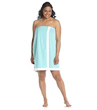 Dearfoams Plus Size Stripe Shower Wrap