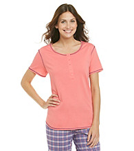 KN Karen Neuburger Knit Short Sleeve Henley Top - Coral