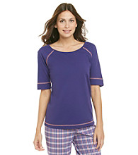 KN Karen Neuburger Knit Short Sleeve Top - Purple