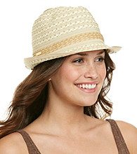Calvin Klein Striped Ribbon Marled Straw Fedora