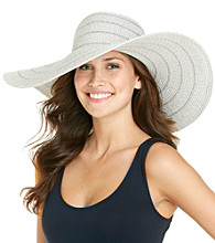 Calvin Klein Grey Marled Lurex Striped Sun Hat