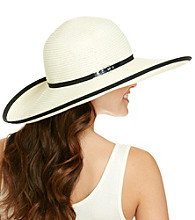 Calvin Klein Black Straw Sun Hat with Pop Color Band