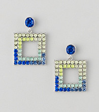 Relativity® Blue And Silvertone Faceted Square Drop Earrings