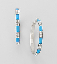 Relativity® Blue And Silvertone Faceted Station Large Hoop Earrings