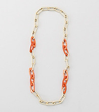 Relativity® Coral And Goldtone Textured Link and Shell Necklace